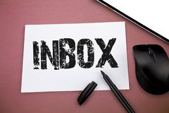 Writing note showing Inbox. Business photo showcasing electronic folder in which emails received by individual are held.  stock images