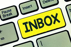 Writing note showing Inbox. Business photo showcasing electronic folder in which emails received by individual are held.  royalty free stock photo