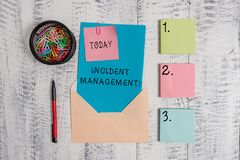 Writing note showing Incident Management. Business photo showcasing Process to return Service to Normal Correct Hazards. Writing note showing Incident Management royalty free stock images