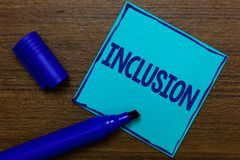 Writing note showing Inclusion. Business photo showcasing action state including of being included within group or structure Blue royalty free stock photo