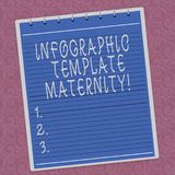 Writing note showing Infographic Template Maternity. Business photo showcasing Motherhood elements, material and guidelines Lined. Spiral Top Color Notepad royalty free illustration