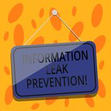 Writing note showing Information Leak Prevention. Business photo showcasing Inhibiting critical information to outflow Blank. Hanging Color Door Window Signage royalty free illustration