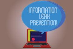 Writing note showing Information Leak Prevention. Business photo showcasing Inhibiting critical information to outflow. Certificate Layout on Laptop Screen and stock illustration