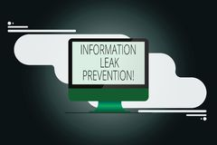 Writing note showing Information Leak Prevention. Business photo showcasing Inhibiting critical information to outflow. Mounted Computer Monitor Blank Reflected vector illustration