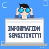 Writing note showing Information Sensitivity. Business photo showcasing data protected against unwarranted disclosure stock illustration
