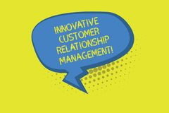 Writing note showing Innovative Customer Relationship Management. Business photo showcasing Client positive feedback Blank Oblong. Halftone Speech Bubble Zigzag stock photos