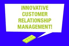 Writing note showing Innovative Customer Relationship Management. Business photo showcasing Client positive feedback Rectangular. Speech Bubble with Tail stock images
