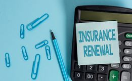Writing note showing Insurance Renewal. Business photo showcasing Protection from financial loss Continue the agreement. Writing note showing Insurance Renewal royalty free stock photos