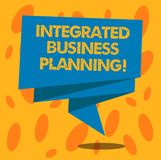 Writing note showing Integrated Business Planning. Business photo showcasing minimizing risk and maximizing profit royalty free illustration