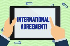 Writing note showing International Agreement. Business photo showcasing document signed by countries want make new rules. Writing note showing International royalty free illustration