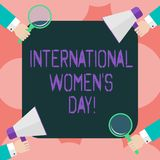 Writing note showing International Women S Day. Business photo showcasing International celebration for womens achievement Hu stock illustration