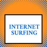 Writing note showing Internet Surfing. Business photo showcasing browsing hundred of websites using any installed. Writing note showing Internet Surfing stock illustration