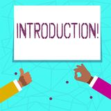 Writing note showing Introduction. Business photo showcasing First part of a document Formal presentation to an audience. Writing note showing Introduction stock illustration