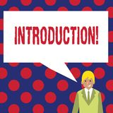 Writing note showing Introduction. Business photo showcasing First part of a document Formal presentation to an audience.  vector illustration
