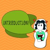 Writing note showing Introduction. Business photo showcasing First part of a document Formal presentation to an audience.  royalty free illustration