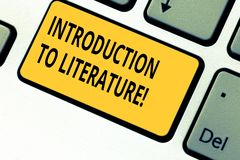Writing note showing Introduction To Literature. Business photo showcasing Collegepreparatory composition course. Keyboard key Intention to create computer stock images