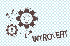 Writing note showing Introvert. Business photo showcasing tend to be inward turning or focused more internal thoughts vector illustration