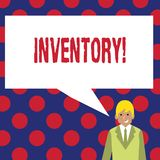 Writing note showing Inventory. Business photo showcasing Complete list of items like products goods in stock properties.  royalty free illustration