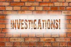 Writing note showing Investigations. Business photo showcasing Formal inquiry Systematic Study Examination Research Analysis Brick stock images