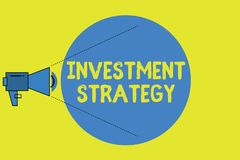 Writing note showing Investment Strategy. Business photo showcasing Set of Rules Procedures Behavior a Guide to an. Investor stock illustration