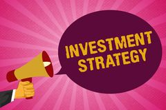 Writing note showing Investment Strategy. Business photo showcasing Set of Rules Procedures Behavior a Guide to an. Investor vector illustration