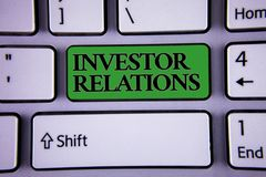 Writing note showing Investor Relations. Business photo showcasing Finance Investment Relationship Negotiate Shareholder Modern s. Ilvery color keyboard green royalty free stock images