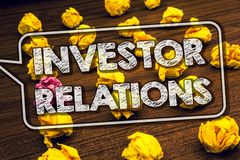 Writing note showing Investor Relations. Business photo showcasing Finance Investment Relationship Negotiate Shareholder Timbered. Ground serially laid yellow royalty free stock images