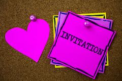Writing note showing Invitation. Business photo showcasing Written or verbal request someone to go somewhere or do something Pape. Rs pink heart cork background royalty free stock photos