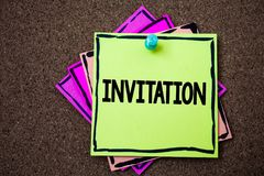 Writing note showing  Invitation. Business photo showcasing Written or verbal request someone to go somewhere or do something Pape. Rs ideas messages to do lists Stock Photo
