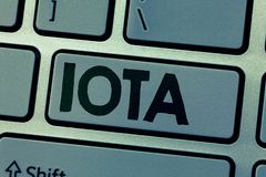 Writing note showing Iota. Business photo showcasing Crypto currency platform Ledger that records the online. Transactions stock photo