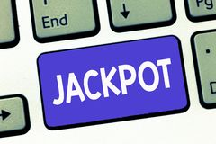 Writing note showing Jackpot. Business photo showcasing Large cash prize in game Lottery Big award Gambling related.  royalty free stock photography