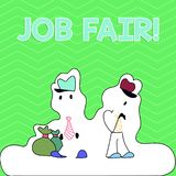 Writing note showing Job Fair. Business photo showcasing event in which employers recruiters give information to. Writing note showing Job Fair. Business concept royalty free illustration