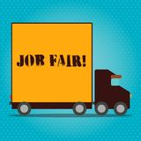 Writing note showing Job Fair. Business photo showcasing event in which employers recruiters give information to. Writing note showing Job Fair. Business concept stock illustration