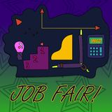 Writing note showing Job Fair. Business photo showcasing event in which employers recruiters give information to. Writing note showing Job Fair. Business concept vector illustration