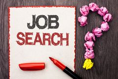 Writing note showing Job Search. Business photo showcasing Find Career Vacancy Opportunity Employment Recruitment Recruit written. Cardboard Piece With Marker royalty free stock image