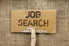 Writing note showing Job Search. Business photo showcasing Find Career Vacancy Opportunity Employment Recruitment Recruit written. Cardboard Piece Holding By stock photos