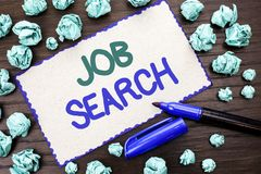 Writing note showing Job Search. Business photo showcasing Find Career Vacancy Opportunity Employment Recruitment Recruit written. Cardboard Piece the wooden stock photos