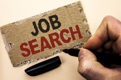 Writing note showing Job Search. Business photo showcasing Find Career Vacancy Opportunity Employment Recruitment Recruit written. By Man Holding Marker tear royalty free stock photos