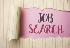 Writing note showing Job Search. Business photo showcasing Find Career Vacancy Opportunity Employment Recruitment Recruit written. The pink background behind royalty free stock photo