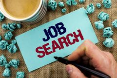 Writing note showing Job Search. Business photo showcasing Find Career Vacancy Opportunity Employment Recruitment Recruit written. By Man Holding Pen Sticky stock photo
