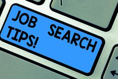 Writing note showing Job Search Tips. Business photo showcasing Recommendations to make a good resume to obtain a. Position Keyboard key Intention to create stock images