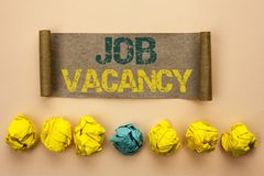 Writing note showing Job Vacancy. Business photo showcasing Work Career Vacant Position Hiring Employment Recruit Job written on. Writing note showing Job royalty free stock photos