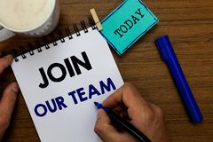 Writing note showing Join Our Team. Business photo showcasing Allied Associate Work with us New Employee Hired Enlist. Man holding marker notebook clothespin stock photography
