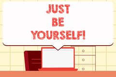 Writing note showing Just Be Yourself. Business photo showcasing Self Attitude Confidence True Confident Honesty. Writing note showing Just Be Yourself. Business royalty free illustration