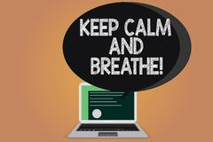 Writing note showing Keep Calm And Breathe. Business photo showcasing Take a break to overcome everyday difficulties. Certificate Layout on Laptop Screen and vector illustration