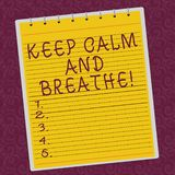 Writing note showing Keep Calm And Breathe. Business photo showcasing Take a break to overcome everyday difficulties. Lined Spiral Top Color Notepad photo on stock illustration