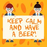 Writing note showing Keep Calm And Have A Beer. Business photo showcasing Relax enjoy a cold beverage with friends vector illustration