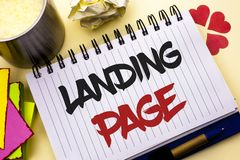 Writing note showing  Landing Page. Business photo showcasing Website accessed by clicking a link on another web page written on N. Writing note showing  Landing Stock Photography