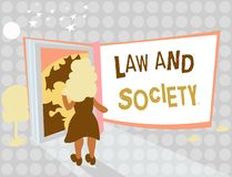 Writing note showing Law And Society. Business photo showcasing Address the mutual relationship between law and society.  royalty free illustration