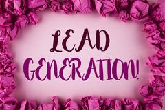 Writing note showing  Lead Generation Motivational Call. Business photo showcasing Sales pipeline digital generating leads written. Plain background within Pink Stock Images